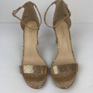 Michael Michael Kors gold glitter chunky heels